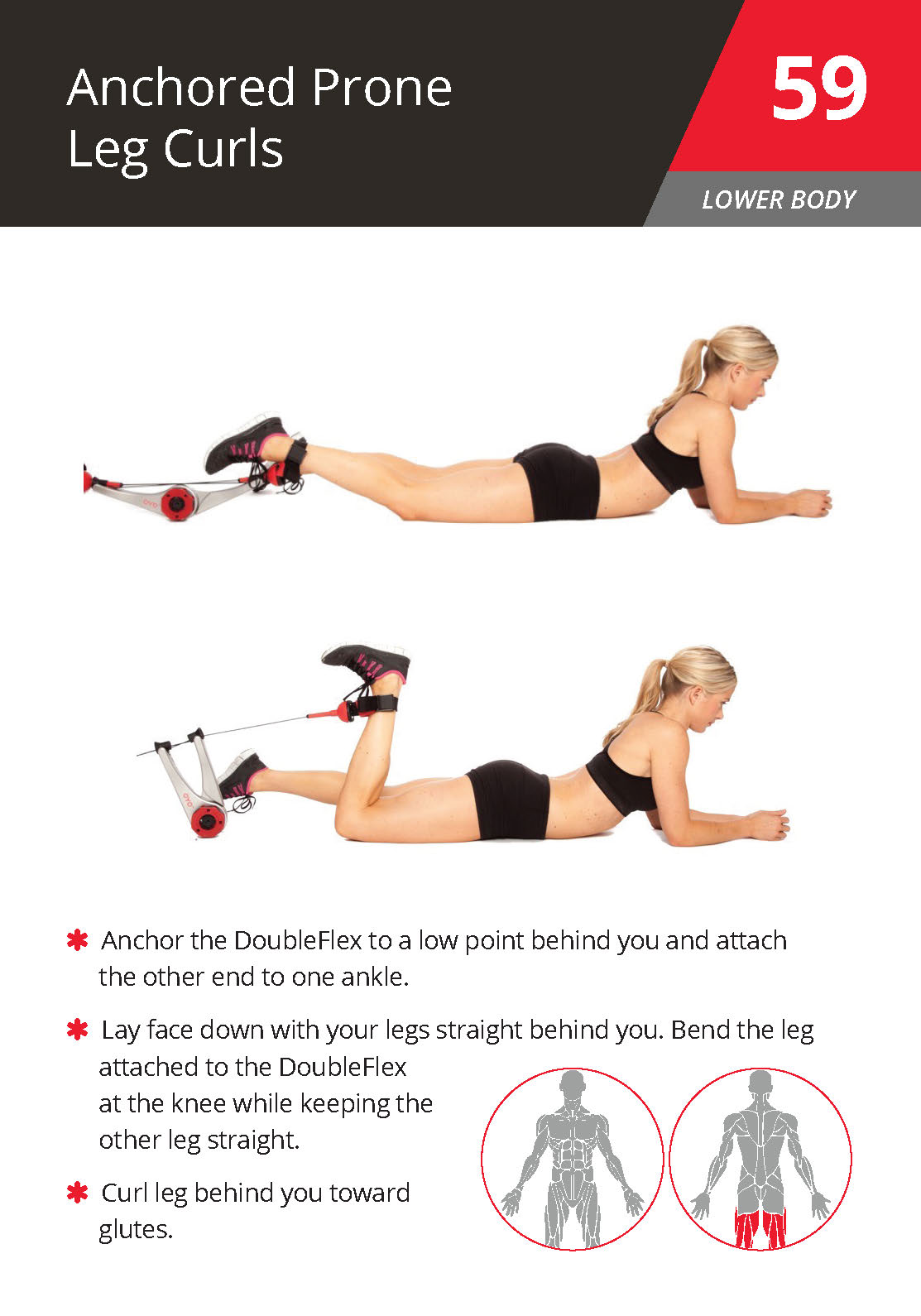 59 Anchored Prone Leg Curls