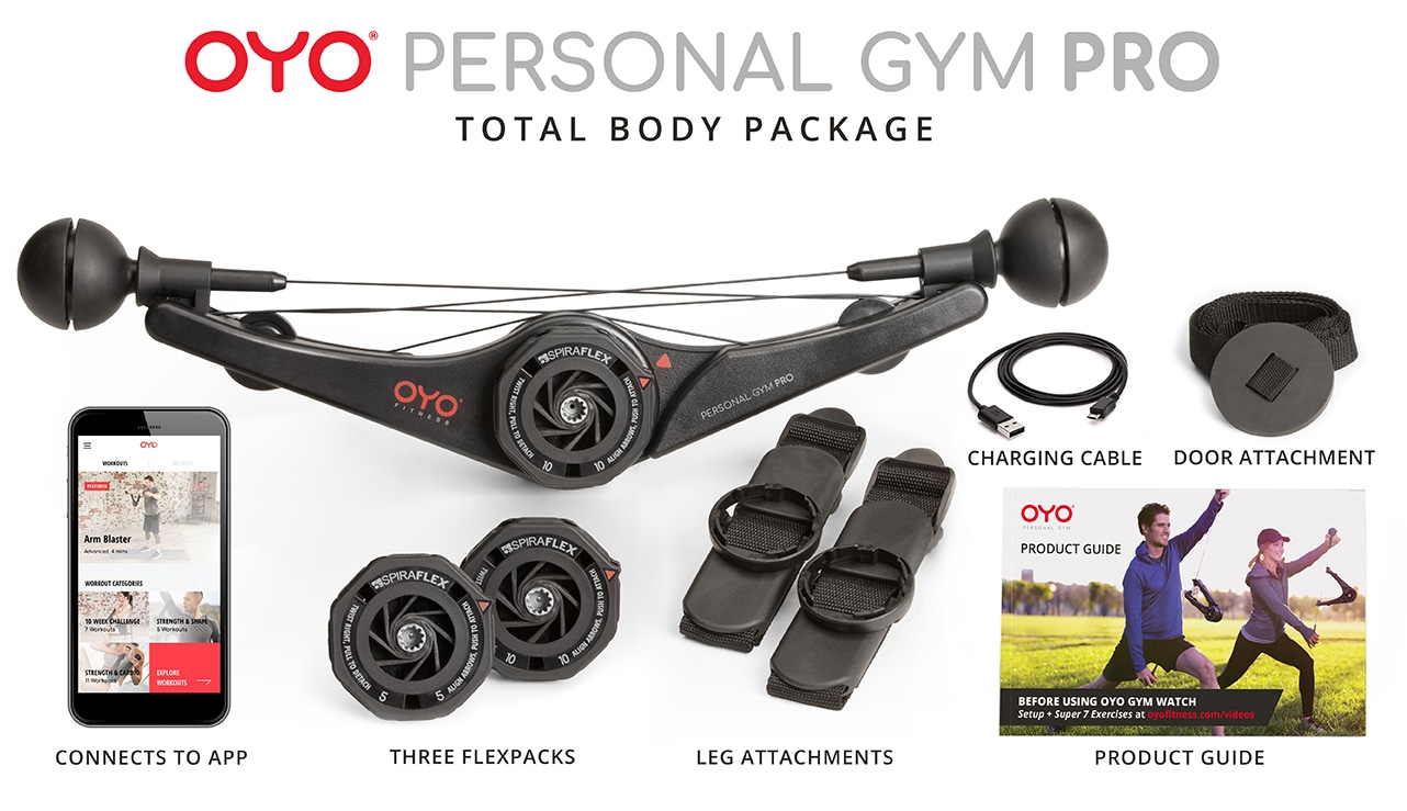 OYO Personal Gym PRO Total Body Package Includes